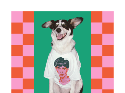 Chalamet fandoggo portrait timothée chalamet dog t-shirt design illustration