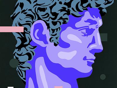 David michelangelo david portrait illustration