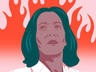 Kamala 🔥 fire lit feminist female vice president-elect election 2020 portrait kamala harris illustration