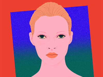 Kate Moss I texture girl kate moss colorful rgb procreate portrait illustration