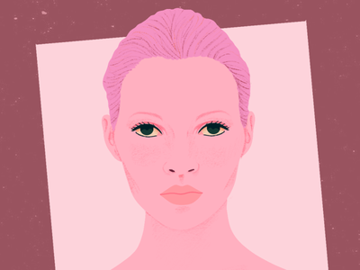 Kate Moss II texture girl millennial pink pastel kate moss portrait illustration