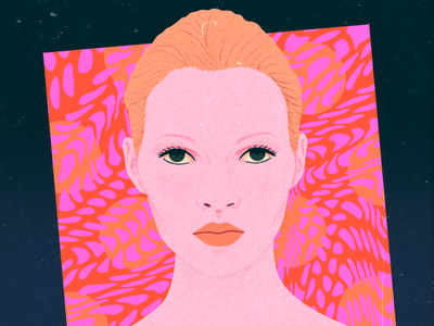 Kate Moss III psychedelic retro colorful pattern groovy vintage kate moss texture portrait illustration