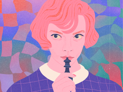 The Queen's Gambit II 50s pink pastel texture vintage chess anya taylor-joy beth harmon character portrait illustration
