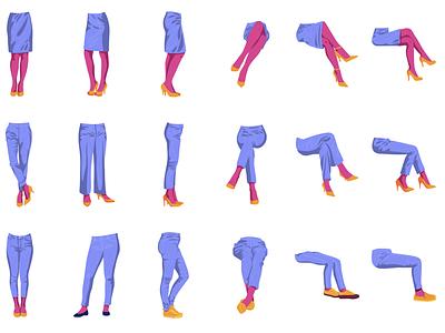 Legs   Modular Illustration standing sitting illustraion modular legs illustration