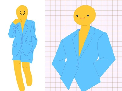 Baby Blue Blazer character smiley yellow blue blazer illustration