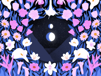 Spring procreate planets mountains space landscape moon spring floral flowers illustration