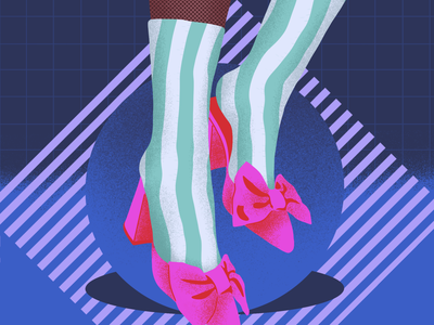 Dreamy Shoes II stripes socks geometric grid fashion bow shoes procreate illustration
