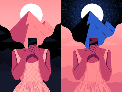 Pyramids procreate dress phone girl moonlight night moon cairo egypt pyramids illustration