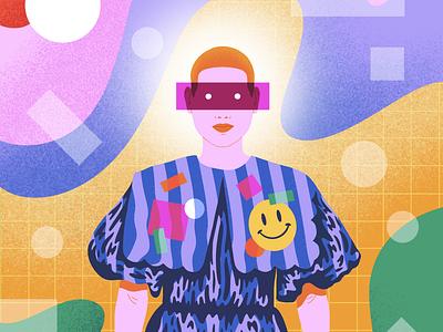 Strange Times eyes procreate dress fashion stripes colorful grid smiley face buzzcut woman girl shapes illustration