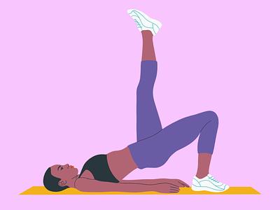 Exercising character legs mat exercising line flat black exercise poc woman girl illustration