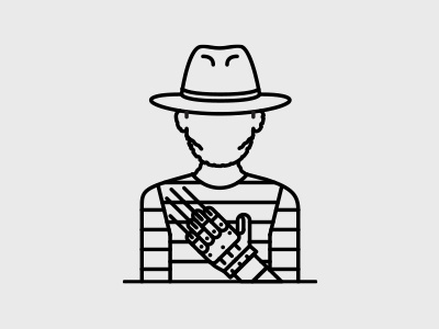 Freddie Krueger character minimal clean avatar portrait line illustration movie horror freddie krueger nightmare on elm street