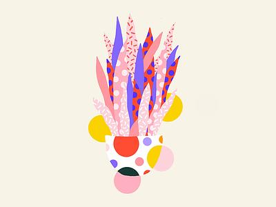 Pattern Plant polka dots procreate pattern plant illustration color block