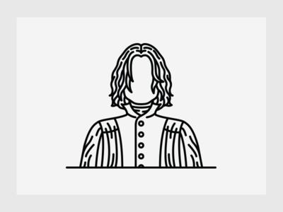 Severus Snape alan rickman severus snape harry potter icon portrait avatar character minimal line illustration