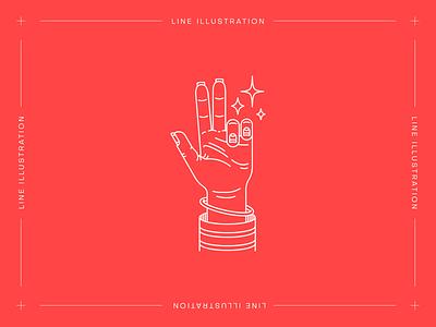 Monstera Box #05: I Wanna Hold your Hand magic linework tattoo old american american traditional hand minimal line illustration