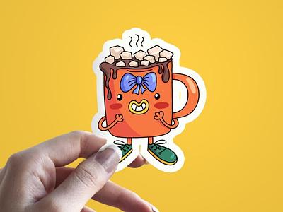 Sweet little mug of cocoa design character funny illustration illustrate doodle art