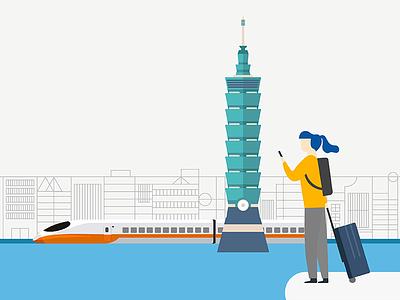Taipei sightseeing travel illustration taiwan taipei