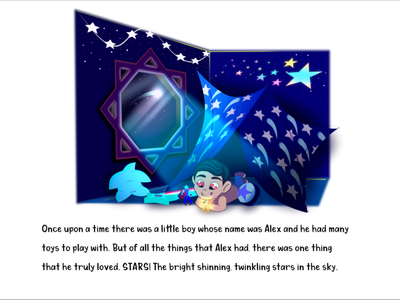 'Sweet Secrets, Behind Dreams' (Pub. 2020) night stars space concept color childrens illustration childrens book illustration character design character cartoon