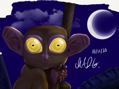 Inktober - Tarsier tarsier night childrens illustration concept animal childrens book illustration character design character cartoon