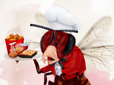 'Apis Tum Iocosa' Jollibee fast food mascot jollibee bee chef insect color concept childrens illustration childrens book illustration character design character cartoon