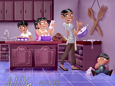 Family Business - Ube Cake Rolls cart digital watercolor family rolls kitchen color childrens book illustration character design concept childrens illustration character cartoon bakery cakes purple pinoypride filipino ube