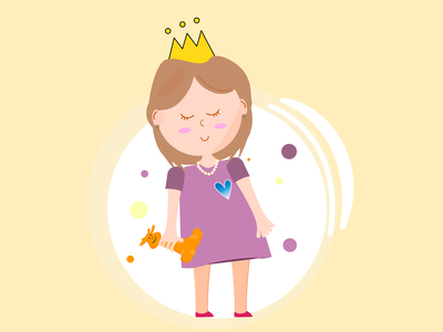 Little cute princess characterdesign vector design illustration
