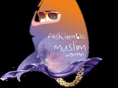 Moslem мусульманская мода мусульманская женщина цепочка очки платок мода красота design illustration