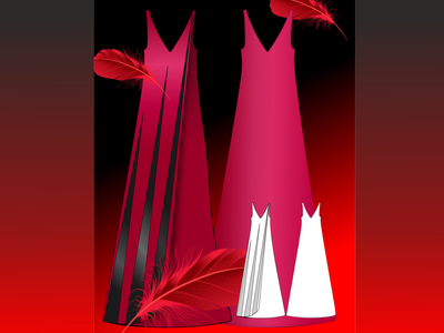 Модное платье красноеплатье красный перья вечернее платье платье мода design illustration