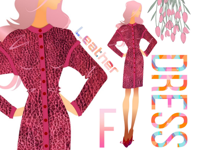 Leather Dress model fashion clothing graphic design graphic design illustration art vector leather dress leather dress