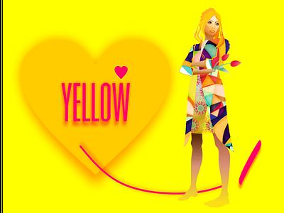 i love yellow красота art graphic design style fashion woman fashion brand vector design illustration yellow