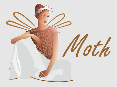 Moth beautiful style мода fashion красота graphic design woman vector design illustration