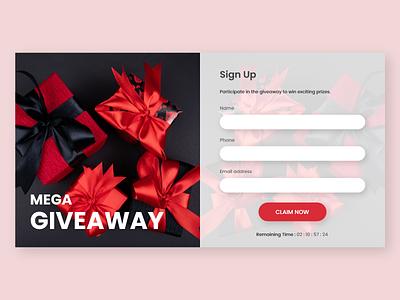 Giveaway Sign Up Form ux design dailyui ui