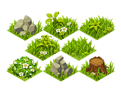 Grass Tiles ui game art tree stump rocks tiles grass vector isometric farm mobile illustration game