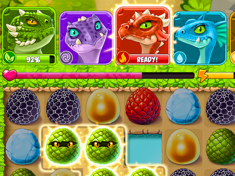 Board eggs match-3 battle fight elements dragon illustration ui game