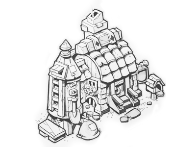 Trader Hut isometric gameart house handrawn ink sketch inktober game