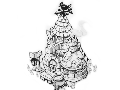 Witch's Cottage isometric gameart house handrawn ink sketch inktober game