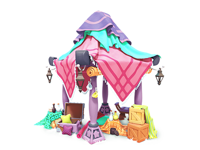 Market stall environment art render maya 3d 3d art gameart painting mobile game