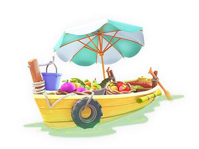 Floating Market boat 3dartist maya 3d gameart mobile illustration game