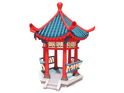 Pagoda chinese pagoda 3dartist maya 3d gameart mobile illustration game