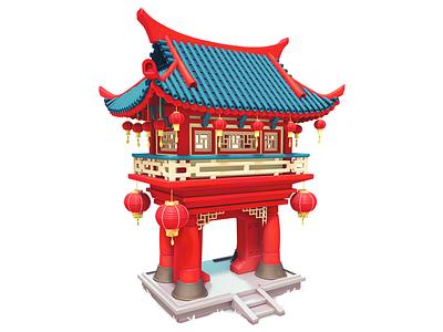 Large Pagoda chinese pagoda 3dartist maya 3d painting mobile illustration game