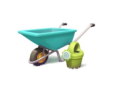 wheelbarrow 3d gameart illustration game