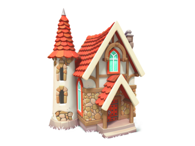countrychurch church house illustration 3d gameart mobile game