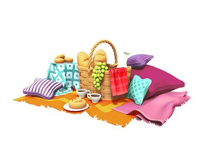 picnic model picnic illustration gameart 3d mobile game