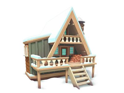 snowycabin maya model house 3d gameart mobile illustration game