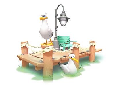 dock model seagull dock maya 3d gameart mobile illustration game