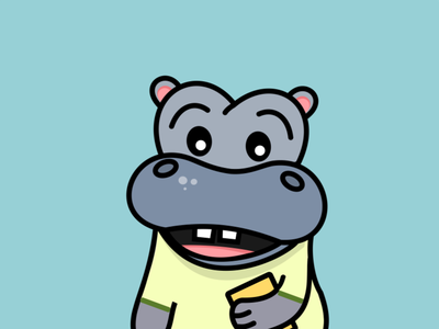 Hippo, the teacher hippo mascot vector illustration