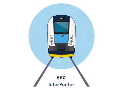 Icon of Czech train InterPanter illustration icon czech train