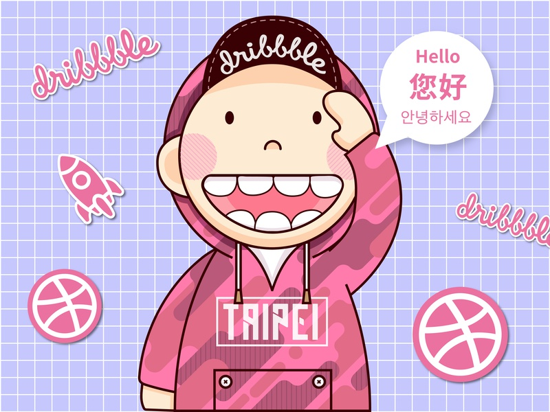 Hi, Dribbble! cute cartoon pink thankyou firstshot ui vector illustraion taipei hellodribbble dribbble hello debut
