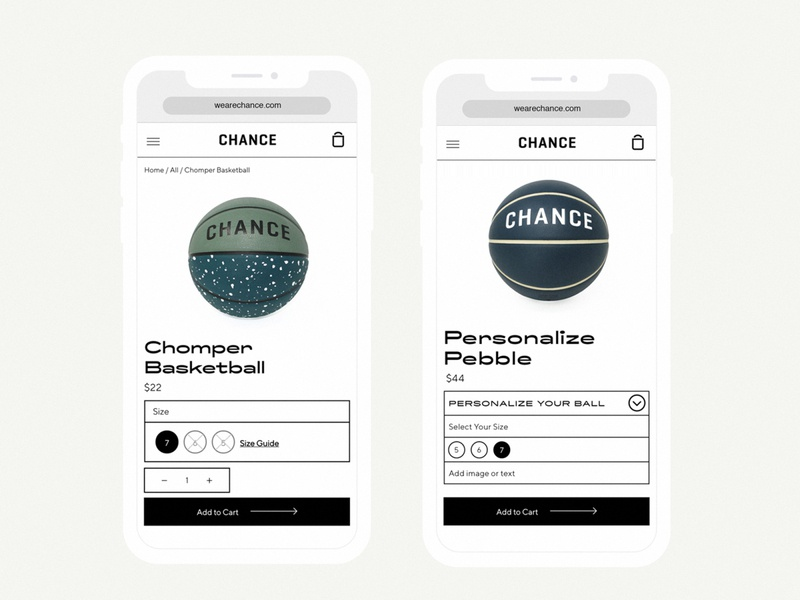 Chance mobile PDP typography design branding ui