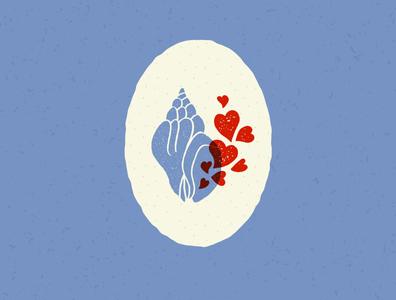Shell yeah! love shell beach branding badge illustration stamp mark icon logo