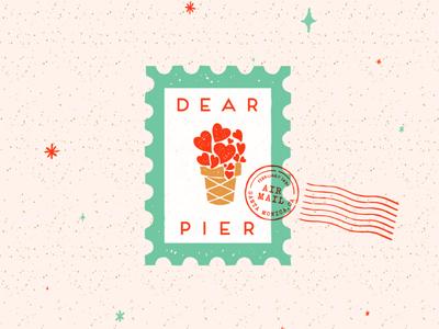Dear Pier... glitter stars valentines love ice cream typography design branding badge illustration stamp mark icon logo
